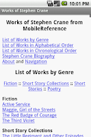 Screenshot of Works of Stephen Crane