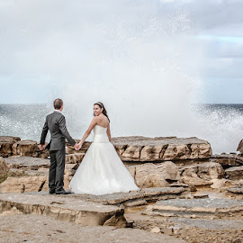 Wet by Valter Antunes - Wedding Bride & Groom ( wedding, beach, bride, groom, trash the dress )