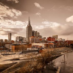 Nashville by Luke Popwell - City,  Street & Park  Skylines ( clouds, water, nashvegas, city by the river, art, tennessee, walking bridge, scenic, landscape, artwork, city scape, sky, sunset, nashville, outdoors, scenery, down town, river, waterway )