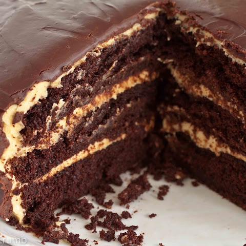Sour Cream-Chocolate Cake with Peanut Butter Frosting and Chocolate-Peanut Butter Glaze
