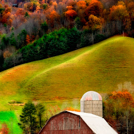 Tennessee Barn by Steven Faucette - Buildings & Architecture Other Exteriors ( mountains, barn, fall, trees, landscape, rural )