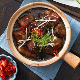 Red Braised Ginger Pork Belly With Pickled Chillies