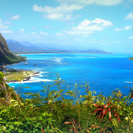 View from Makapu'u, Hawaii by Mina Thompson - Landscapes Travel ( vistas, tropical, view, hawaii, makapu'u )