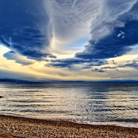 Afternoon prelude to sky by Borna Cuk - Landscapes Cloud Formations ( opatija, clouds, sky, croatia, beach )