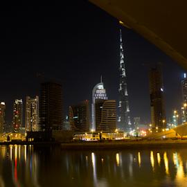 Dubai Cityscape by Shaikh Mohammed Meraj - Buildings & Architecture Architectural Detail ( dubaicityscape, night photography, dubai, long exposure, cityscape, burj khalifa, burj khalifa photography, nightscape )