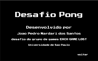 Screenshot of Pong Game Challange EACH-USP