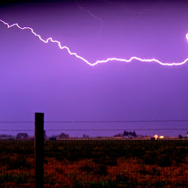 Electric fence by Vern Tunnell - Landscapes Weather ( fence, lightning, thunderstorm, electricity, storm )