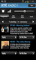 Screenshot of RTÉ Radio Player