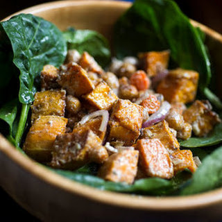 Spinach Salad with Roasted Vegetables and Spiced Chickpea