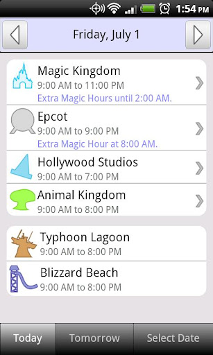Disney World Park Hours