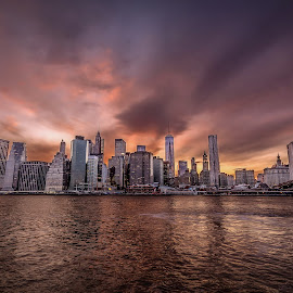 New York Sunset by Mariya Miteva-Simon - City,  Street & Park  Skylines ( skyline, sunset, briiklyn bridge, new york )