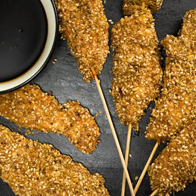 Chicken Skewers with Dukkah Crust
