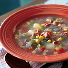 Corn Soup with Potatoes and Smoked Ham