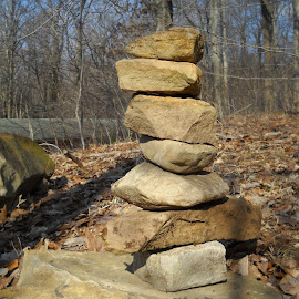 Cairn at Laurelville Mennonite Church Center by Emilie Walson - Nature Up Close Rock & Stone ( camp, outdoor, cairn, rock, woods )