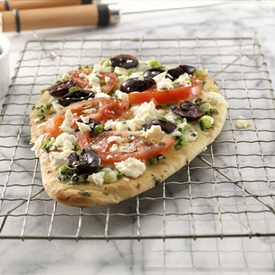 Greek Style Grilled Naan Pizza
