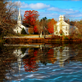 The Two Churches by Janet Lyle - Buildings & Architecture Places of Worship ( church, reflections )