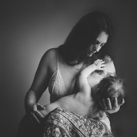 The Mother In Me by Melina McGrew McConnaughy - People Portraits of Women ( child, mother, black and white, window light, breastfeeding, Selfie, self shot, portrait, self portrait )