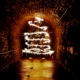 christmasme by John Tweedy - Abstract Light Painting ( urban, light painting, sparkler, wire wool, self portrait, tunnel )