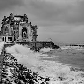 Still standing by Bogdan Rusu - Black & White Buildings & Architecture ( winter, waves, sea, casino, abandoned )
