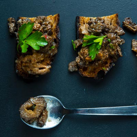 Morel Mushroom Toasts with Parsley Salad