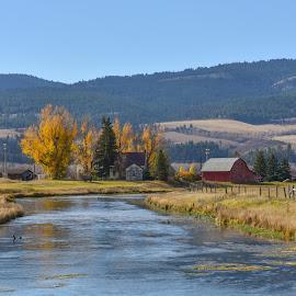 Idaho Farm by Keith Boone - Landscapes Prairies, Meadows & Fields ( idaho, farm, hills, mountains, snake river, rivertrees, rustic, rural, fields, river )