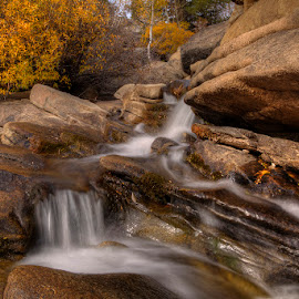 by Jay Fite - Nature Up Close Water ( waterfall small fall colors hope valley, west fork carson river )