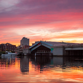Raising the Bridge by Jeff Klein - Landscapes Sunsets & Sunrises ( water, sunset, norwalk, sono, bridge, boat, landscape )
