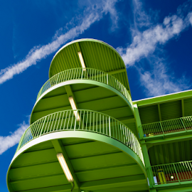 Green Stairs by Carlos Phelps - Buildings & Architecture Other Exteriors ( contrails, sky, stairs, blue, metal, green,  )