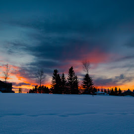 Small Hills by Chuxiong Miao - Landscapes Weather ( sunset, snow, house, edmonton, 5dmarkiii )