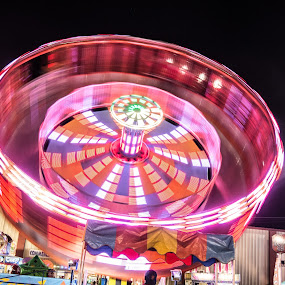 Pensacola Fair by Jon Cody - City,  Street & Park  Amusement Parks ( ride, night, motion, fair, motion blur, the mood factory, mood, lighting, sassy, pink, colored, colorful, scenic, artificial, lights, scents, senses, hot pink, confident, fun, mood factory  )