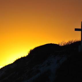 Sunset behind cross by Jon Cody - Landscapes Sunsets & Sunrises ( pensacola beach, god, nature, sunset, cross,  )