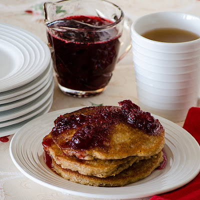 Apple Pancakes with Cranberry Syrup