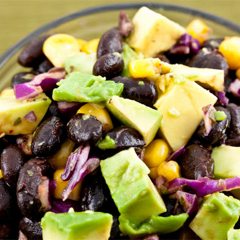 Black Bean Salad with Avocado, Corn and Red Cabbage