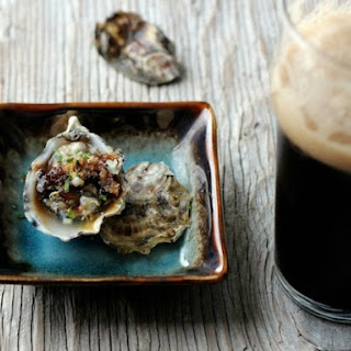 Irish Stout Granita with Raw Oysters