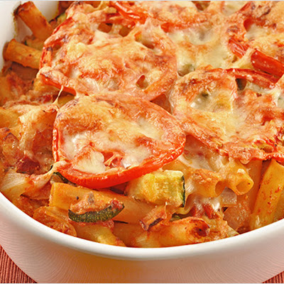 Baked Ziti with Zucchini, Artichokes and Pancetta
