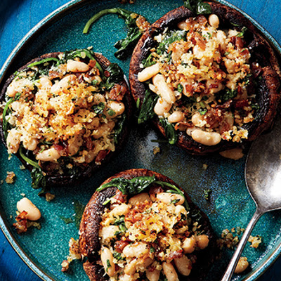 Portobello Mushrooms with White Beans and Prosciutto