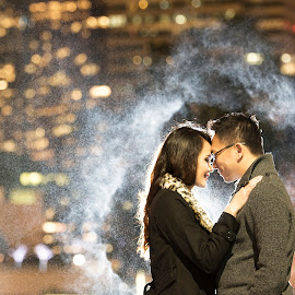 Downtown Chemistry by Yansen Setiawan - Wedding Other ( spray, creative, art, losangeles, illusion, bokeh, love, fineart, yansensetiawanphotography, prewedding, d800, wedding, lifestyle, photographer, la, yansensetiawan, nikon, night shoot, yansen, engagement )