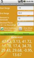 Screenshot of Easy Random Number Generator