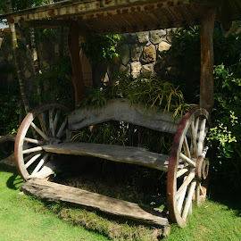 Antique Wheel Bench by Dick Shia - Artistic Objects Furniture ( Chair, Chairs, Sitting )