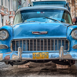 56' Chevy on the Blocks by Garry Dosa - Transportation Automobiles ( car, blue, chevy, antique )