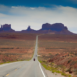 Entering Monument Valley by Rennis Kauffman - Landscapes Travel ( mounument valley, open road,  )