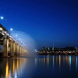 Banpo Bridge rainbow fountains by Irfan Nurbayan - City,  Street & Park  Fountains