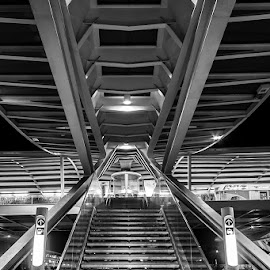 welcome to the machine by Emanuel Ribeiro - Buildings & Architecture Other Exteriors ( lights, stairs, station, night, lisbon )