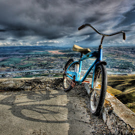 Top of the World by Eric Demattos - Transportation Bicycles ( overlook, clearwater river, blue bike, storm )