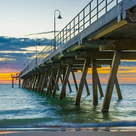 Water Colours by Sharon Wills - Buildings & Architecture Bridges & Suspended Structures ( south australia, glenelg, australian, sunset, australia, sea, jetty, beach,  )