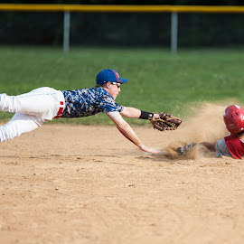 Safe at second by Bob Leslie - Sports & Fitness Baseball ( late tag, baseball, slide, double,  )