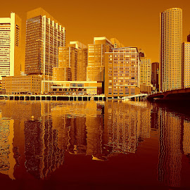 Fort Point Channel by Jay MacIntyre - Buildings & Architecture Architectural Detail ( water, reflection, sepia, boston, view )
