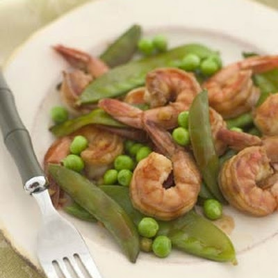 Spring Peas and Shrimp Stir-Fry with Ginger-Soy Glaze