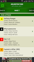 Screenshot of Equibase Today's Racing