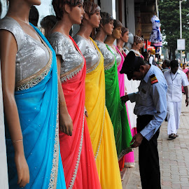 The Colourful Queue by Shishir Kumar - Artistic Objects Clothing & Accessories ( models, ladies, clothes, females, sarees )
